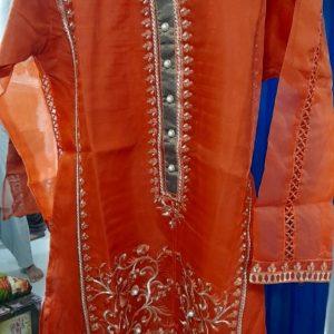 Organza stitched kurti